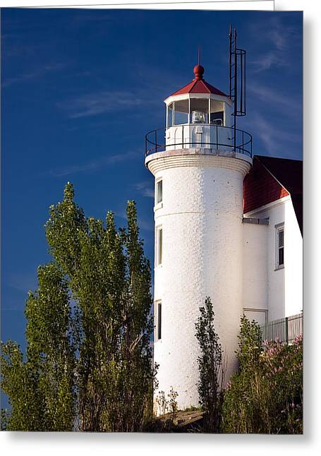 Ocean Shore Greeting Cards - Point Betsie Lighthouse Michigan Greeting Card by Adam Romanowicz