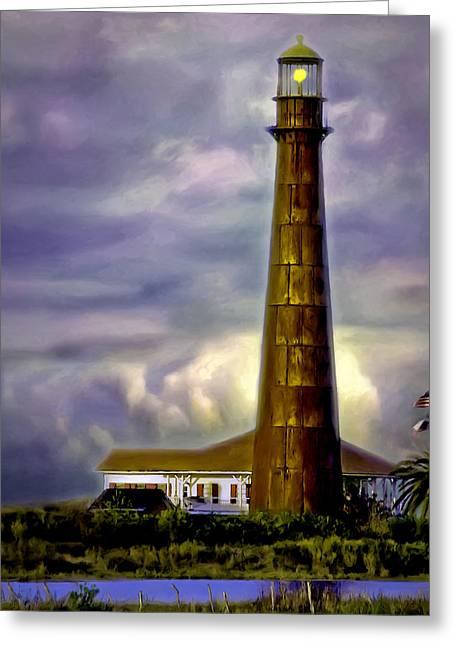 Sailing Ship Greeting Cards - Point Bolivar Lighthouse Sunset V.2 Greeting Card by F Leblanc