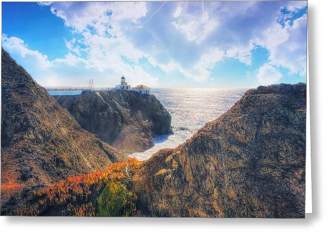 California Lighthouse Greeting Cards - Point Bonita Lighthouse - Marin Headlands 2 Greeting Card by The  Vault - Jennifer Rondinelli Reilly