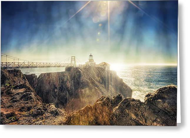California Lighthouse Greeting Cards - Point Bonita Lighthouse - Marin Headlands 3 Greeting Card by The  Vault - Jennifer Rondinelli Reilly