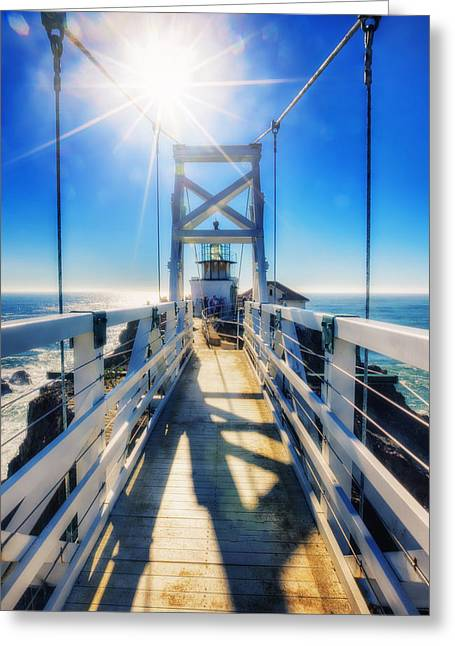 California Lighthouse Greeting Cards - Point Bonita Lighthouse and Bridge - Marin Headlands Greeting Card by The  Vault - Jennifer Rondinelli Reilly