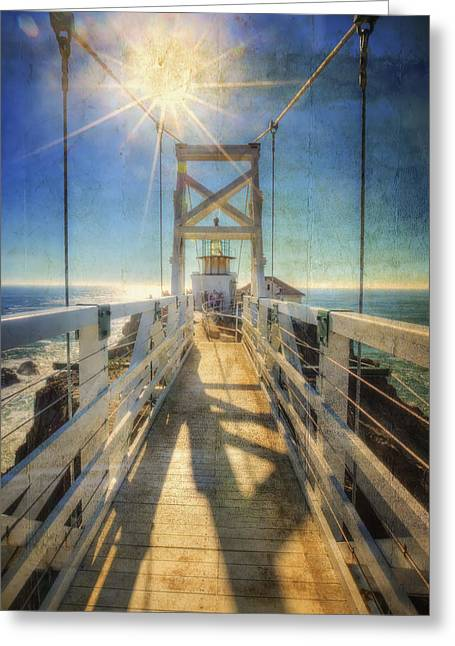 California Lighthouse Greeting Cards - Point Bonita Lighthouse and Bridge 2 - Marin Headlands Greeting Card by The  Vault - Jennifer Rondinelli Reilly