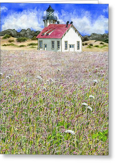California Lighthouse Greeting Cards - Point Cabrillo Light Greeting Card by Karen Wright