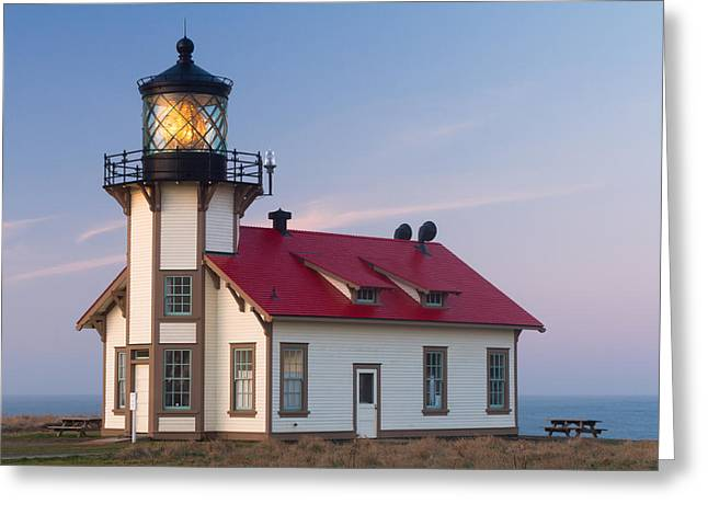 Old Maine Houses Greeting Cards - Point Cabrillo Lighthouse Greeting Card by Nomad Art And  Design