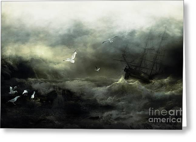 Storm Prints Digital Art Greeting Cards - Point Danger Greeting Card by Shanina Conway
