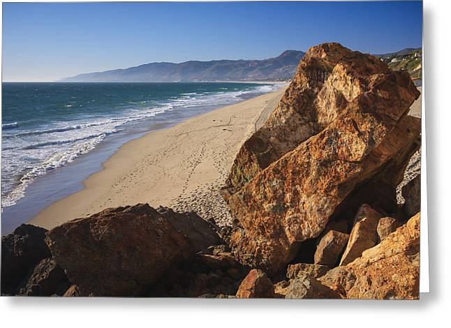 Pirates Greeting Cards - Point Dume Overlooking Zuma Beach Greeting Card by Adam Romanowicz