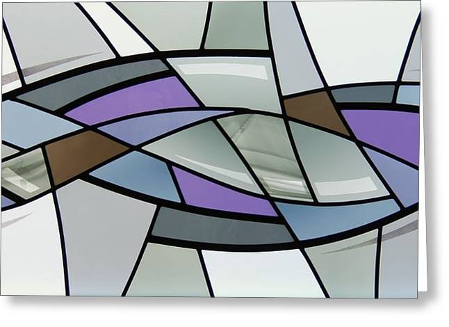 Gray Glass Greeting Cards - Point Grey Abstract Greeting Card by Gilroy Stained Glass