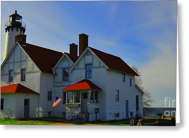 Point Iroquois Lighthouse 2 Greeting Card by Terri Gostola