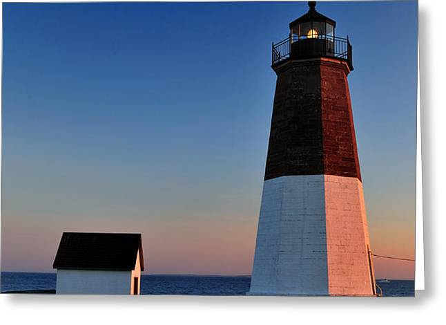 Point Judith- Sidelit at Sunset Greeting Card by Thomas Schoeller