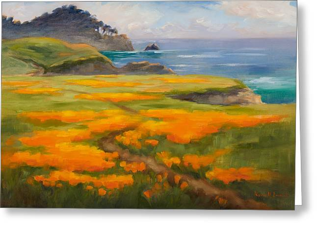 Point Lobos Greeting Cards - Point Lobos Poppies Greeting Card by Karin  Leonard