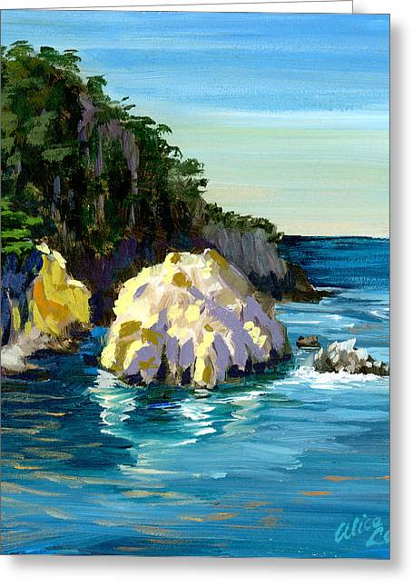 Point Lobos Rock Greeting Card by Alice Leggett