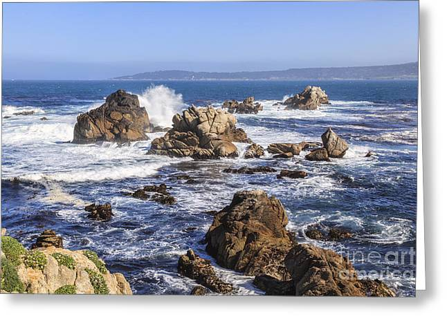 Point Lobos Greeting Cards - Point Lobos rocks and waves Greeting Card by Ken Brown
