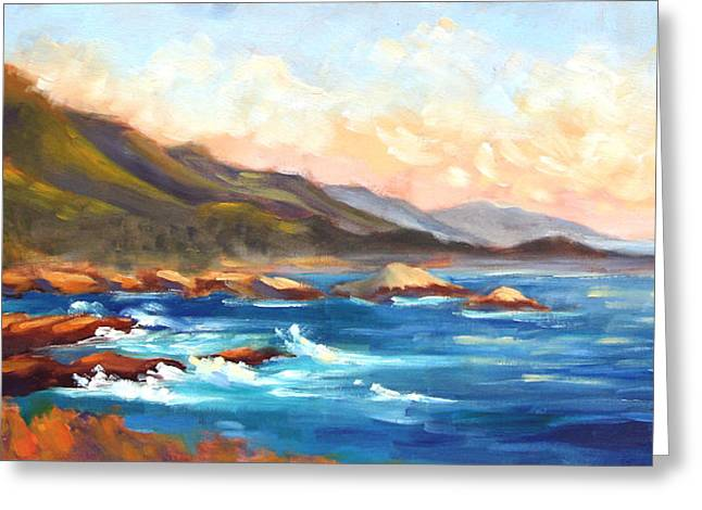 Point Lobos Greeting Cards - Point Lobos Sunset Greeting Card by Karin  Leonard