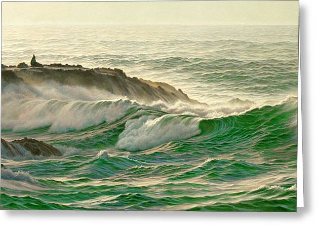 Recently Sold -  - California Sea Lions Greeting Cards - Point Lobos Surf Greeting Card by Paul Krapf