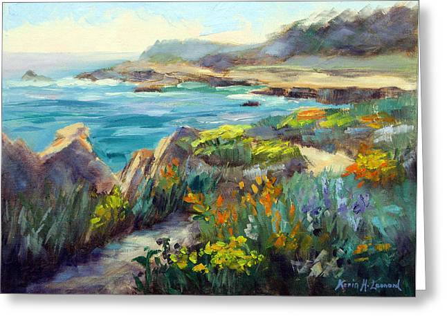 Point Lobos Wildflowers Greeting Card by Karin  Leonard