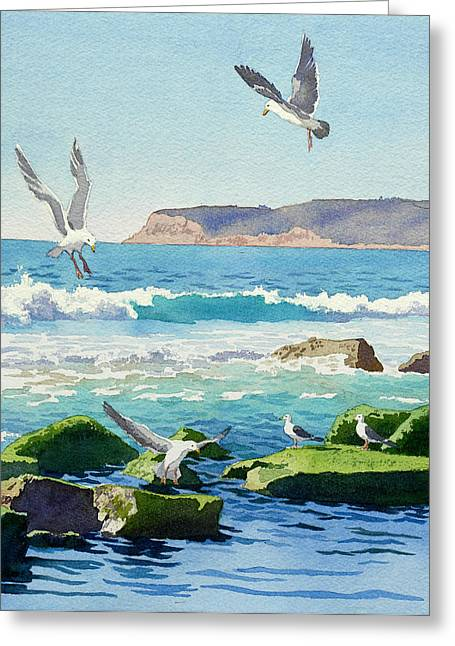 Seagull Greeting Cards - Point Loma Rocks Waves and Seagulls Greeting Card by Mary Helmreich