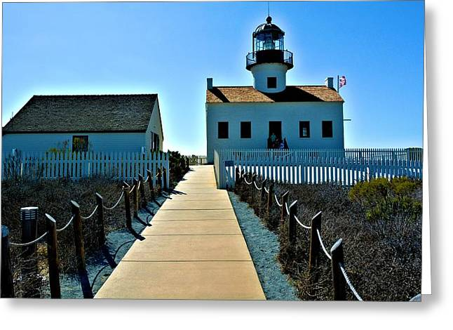 White Pickett Fences Greeting Cards - Point Loms Lighthouse #2 Greeting Card by Richard Jenkins