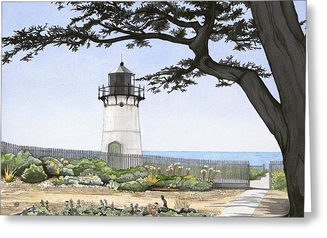 Half Moon Bay Greeting Cards - Point Montara Lighthouse Greeting Card by Kerry Van Stockum