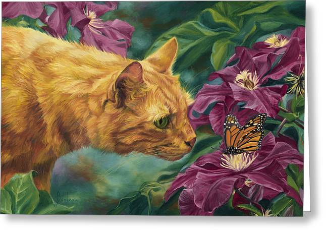 Orange Tabby Paintings Greeting Cards - Point Of Interest Greeting Card by Lucie Bilodeau