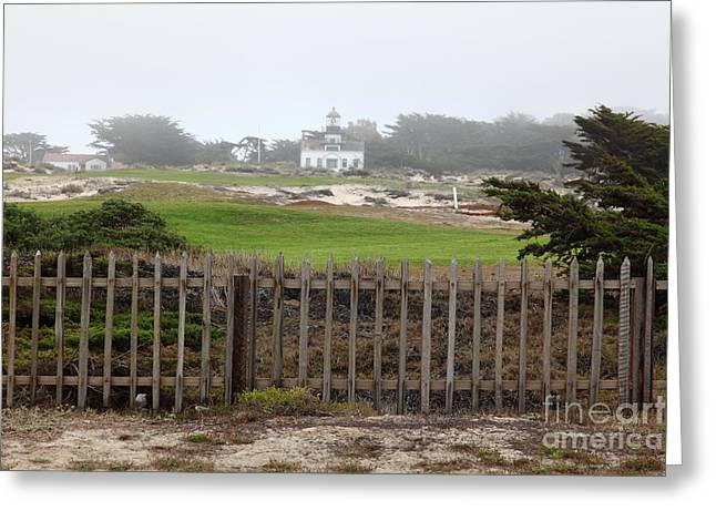 Foggy Beach Greeting Cards - Point Pinos Lighthouse in The Fog in Pacific Grove Near Monterey California 5D25133 Greeting Card by Wingsdomain Art and Photography