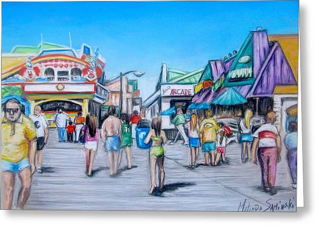 Game Pastels Greeting Cards - Point Pleasant Beach Boardwalk Greeting Card by Melinda Saminski