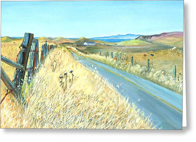 Marin County Greeting Cards - Point Reyes Country Road Greeting Card by Asha Carolyn Young