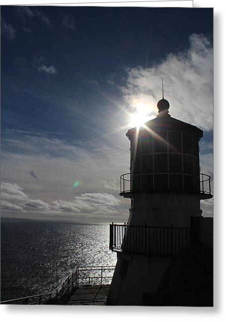 California Beach Greeting Cards - Point Reyes Lighthouse Silhouette Greeting Card by Nicholas Miller