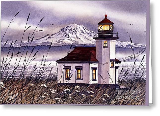 Maritime Print Greeting Cards - Point Robinson Lighthouse Greeting Card by James Williamson