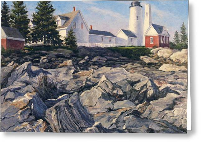 Maine Beach Greeting Cards - Point Rocks Greeting Card by Will Kefauver