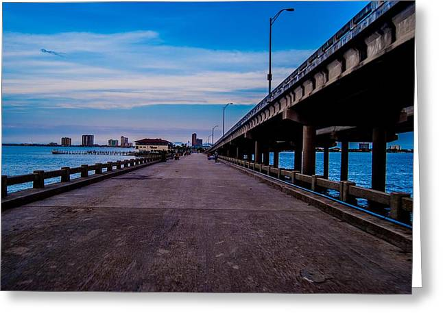 Pensacola Fishing Pier Greeting Cards - Point to the Center Greeting Card by Jon Cody