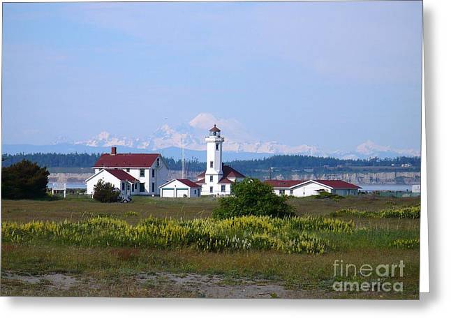 Townsends Inlet Greeting Cards - Point Wilson Light Greeting Card by Gayle Swigart