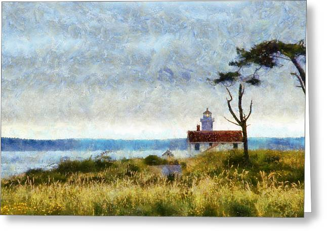 Townsends Inlet Greeting Cards - Point Wilson Lighthouse Greeting Card by Kaylee Mason