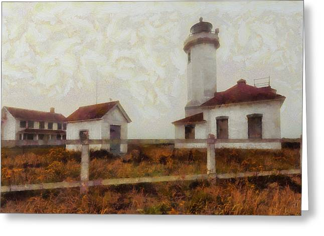 Fog Mixed Media Greeting Cards - Point Wilson Lighthouse Greeting Card by Mark Kiver