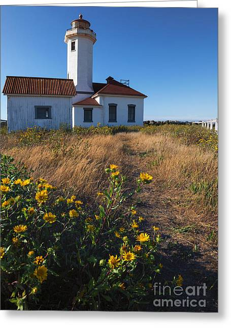 Juan De Fuca Greeting Cards - Point Wilson Lighthouse Greeting Card by Mike  Dawson