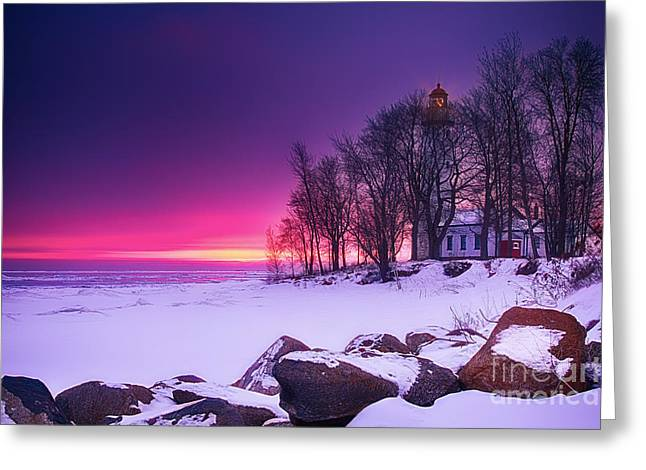 Lighthouse At Sunset Greeting Cards - Pointe Aux Barques Lighthouse II Greeting Card by Todd Bielby