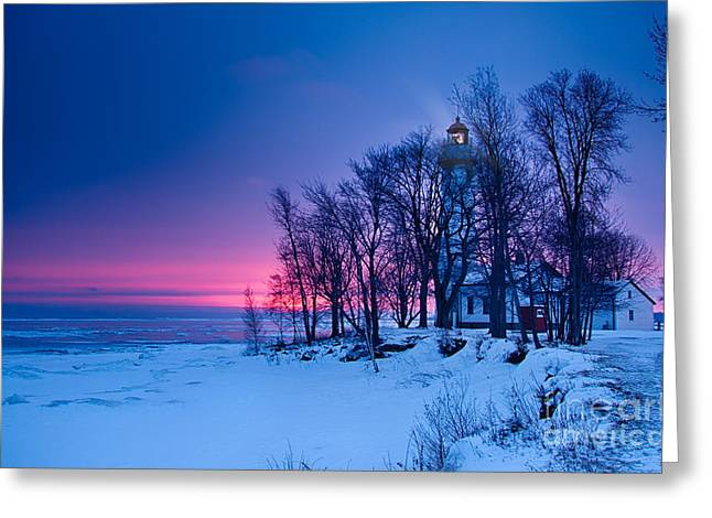 Pointe Aux Barques Lighthouse Greeting Card by Todd Bielby
