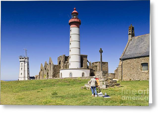 Church Painter Greeting Cards - Pointe Saint Mathieu Brittany France Greeting Card by Colin and Linda McKie