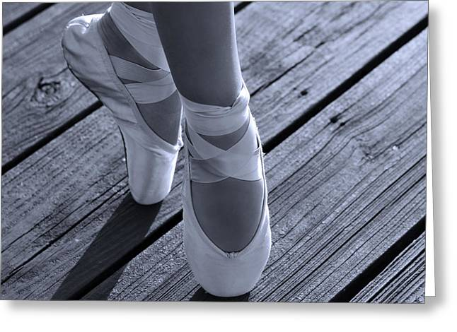 Dancer Photographs Greeting Cards - Pointe Shoes Bw Greeting Card by Laura  Fasulo