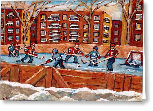 Pointe St. Charles Hockey Rink Southwest Montreal Winter City Scenes Paintings Greeting Card by Carole Spandau