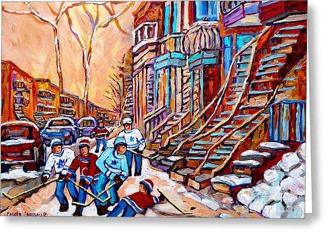 Pointe St.charles Hockey Game Near Winding Staircases Montreal Winter City Scenes Greeting Card by Carole Spandau