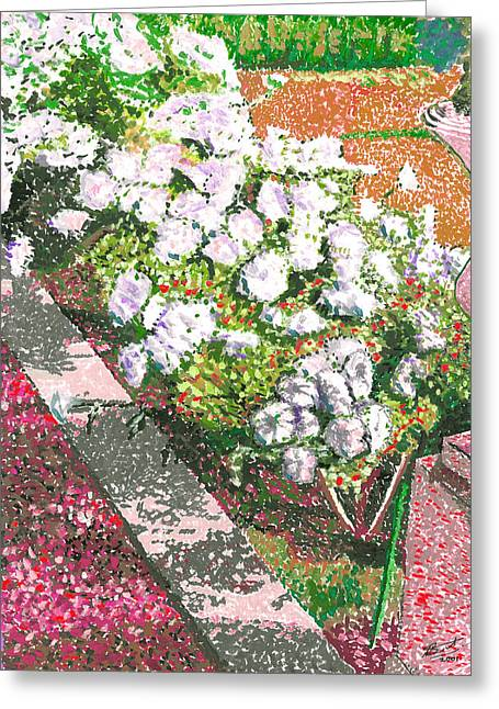 Shadows Cast Greeting Cards - Pointelism Flowers And The Garden Path Greeting Card by Allan Swart