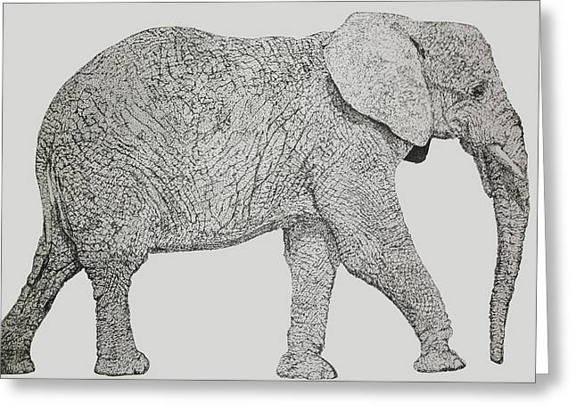Pointillism Elephant Greeting Card by Terence Leano
