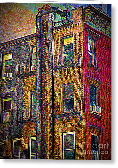 Pointillism In Steel And Brick Greeting Card by Miriam Danar