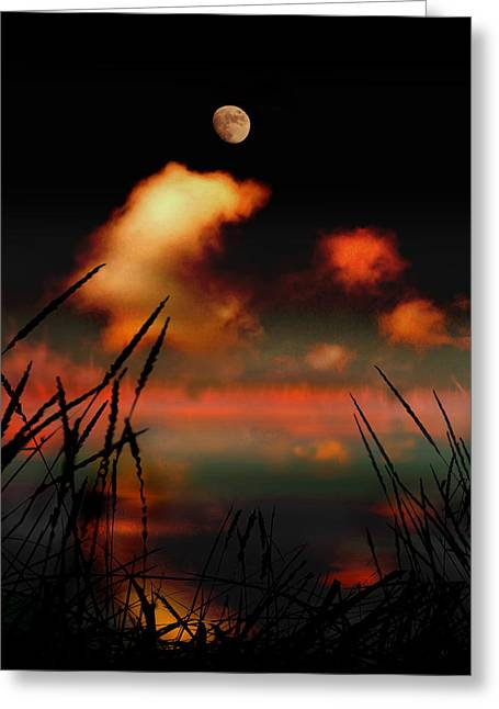 Harvest Moon Greeting Cards - Pointing at the Moon Greeting Card by Mal Bray