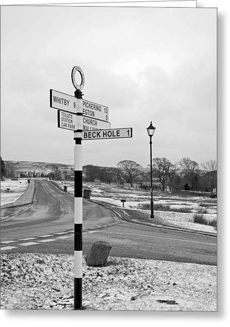 Europe Greeting Cards - Pointing the Way - Goathland Signpost Greeting Card by Rod Johnson