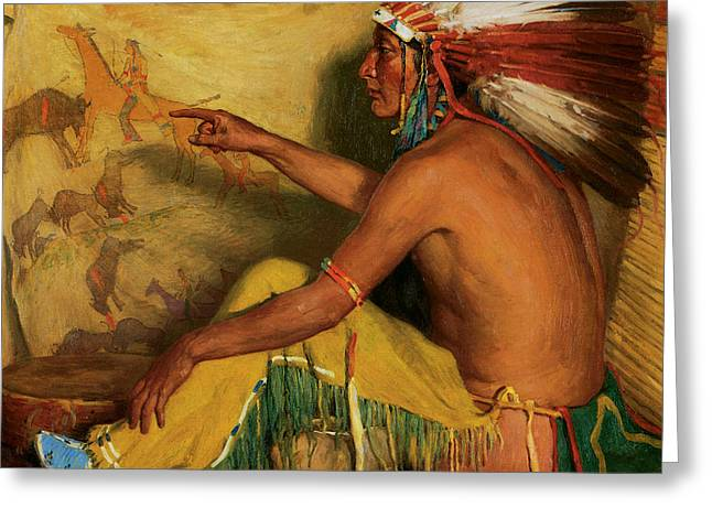Chief Joseph Greeting Cards - Pointing with Pride to His Record Greeting Card by Joseph Henry Sharp