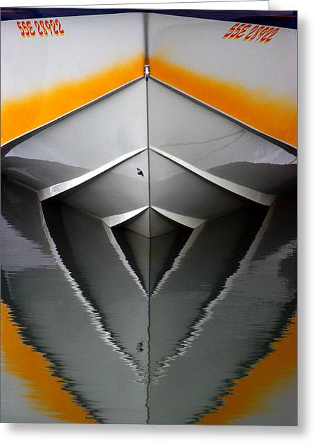 Poker Run Boat Greeting Cards - Pointy End Reflection Greeting Card by Paul Wash