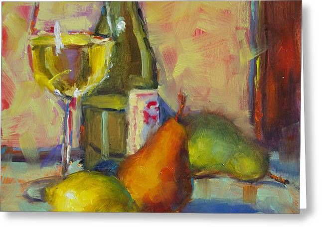 Fruit And Wine Greeting Cards - Poires Citron and Vino Greeting Card by Monique Carr