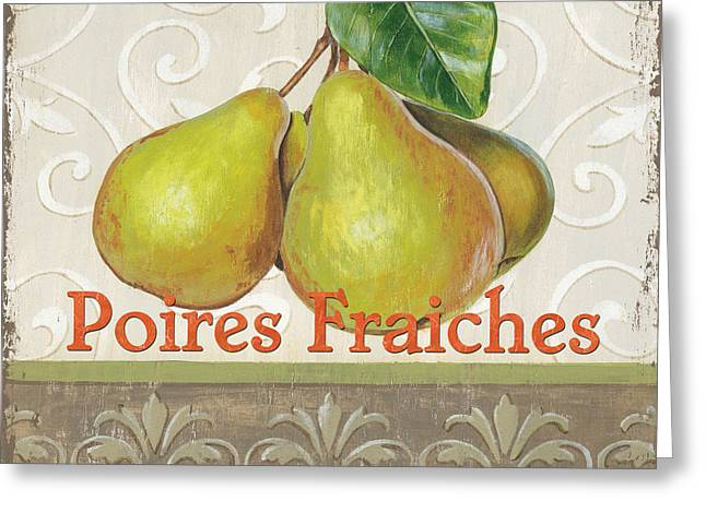 Kitchens Greeting Cards - Poires Fraiches Greeting Card by Debbie DeWitt