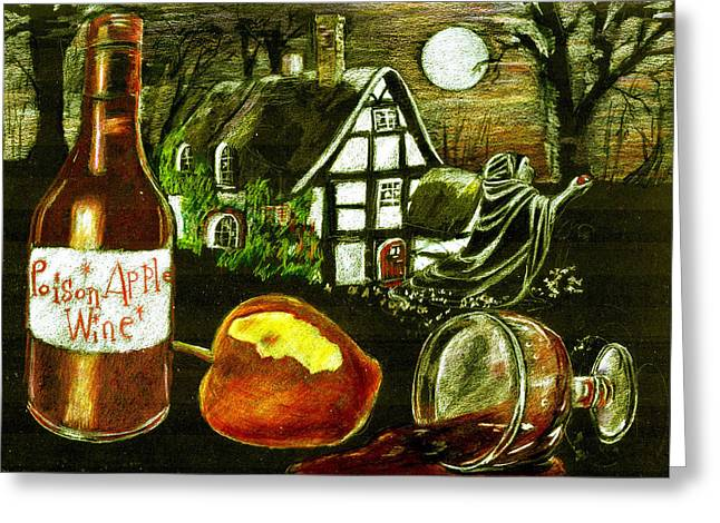 Goblet Drawings Greeting Cards - Poison Apple Wine Greeting Card by Candace  Hardy